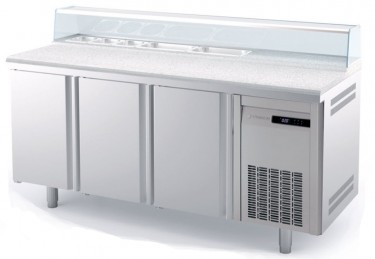 Coreco GN 1/1 3 Solid Door Salad Chef Counter with Granite Worktop and Glass Cover – MFG70-180-1/6