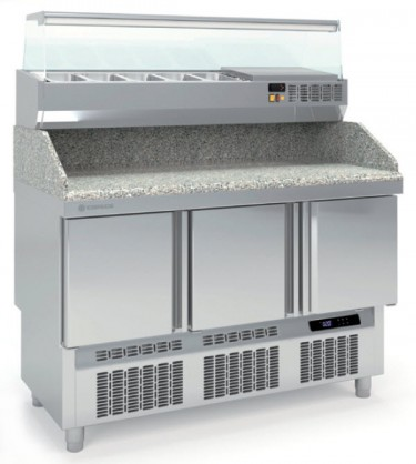 Coreco GN 1/1 Compact 3 Solid Door Pizza Counter with Granite Worktop MFCP-140