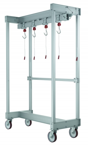 A.I.Guidovie Trolley to carry quarters on sliding hooks